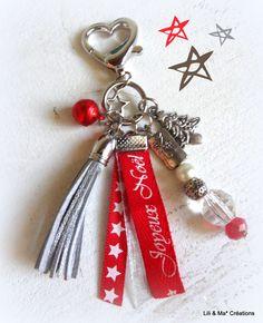 """Bijou de sac, grigri, Lili et Ma* Créations """"Joyeux Noel"""" : Porte clés par lili-et-ma-creations"""