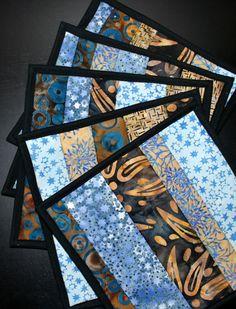 Batik potholders mug rugs snack mats Blue and by MonkeyMuffin, $18.00