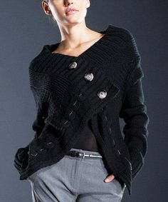 Look what I found on #zulily! Black Cable-Knit Wool-Blend Cardigan #zulilyfinds by Dolce Cabo, $20 !!