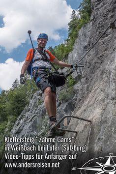 """Hier findest Du Video-Tipps für Klettersteig Anfänger. Die Outdoor Erlebnisse wurden im Klettersteig """"Zahme Gams"""" in Weißbach bei Lofer (Salzburg, Österreich) gedreht. Mit Schritt für Schritt Anleitung für jene, die das erste Mal einen Klettersteig erleben wollen. #Klettersteig #Salzburgerland #Erlebnis Videos, Outdoor Power Equipment, Salzburg Austria, Outside Activities, Climbing, Garden Tools"""