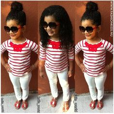 Red and white striped shirt with necklace, white pants, and red shoes+ glasses