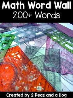 231 math words for your math word wall. All math strands in one complete package! Keep your math classroom decorated and ready for learning at the same time. Use our rainbow colour word walls to brighten up your bulletin boards. This is a complete mathematics word wall for Grades 1 to 8. ($)