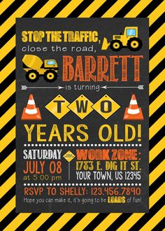 Construction Birthday Invitation Party Digger Dump Truck Boy Invitations