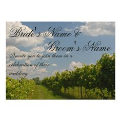 Shop Vineyard Grape Vines Country Wedding Invitation created by nationalpark_t_shirt. Personalize it with photos & text or purchase as is! Winery Wedding Invitations, Wedding Invitation Design, Outdoor Wedding Reception, Wedding Rehearsal, Outdoor Weddings, Rehearsal Dinners, Grape Vine Trellis, Grape Vines, Yosemite Wedding
