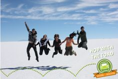 "Green Toaders hopping for joy on the Uyuni Salts Flats, Bolivia  Next in our 'Spotlight on..."" series is Green Toad Bus in South America. http://wp.me/p2RkXq-mC   We interviewed Val Murray, Co-Founder of Green Toad Bus (the Frog and Toad are croaking good friends :-)). Green Toad are an innovative company providing travellers with travel passes, activities and backpacker trips in South America."