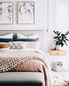 such a pretty and simple bedroom. Floating shelves as side tables and pendant lights for smaller bedroom