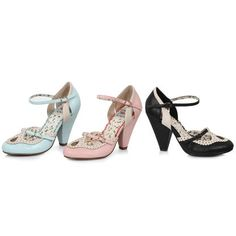 Bettie Page BETTIE PAGE BP403-ALICIA Women's T-strap Cut Out Cone Heel Ankle Strap Pumps