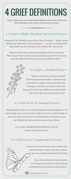 "Learn 4 popular grief definitions derived from Elisabeth Kübler-Ross & David Kessler's work ""On Grief and Grieving"" that highlights that grief is ultimately a process. Grief Definitions 