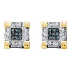 10kt Yellow Gold Mens Round Blue Color Enhanced Diamond Cube Square 3D Cluster Earrings 1/4 Cttw