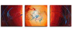 Deze drie prachtig geschilderde canvasdoeken vormen een modern drieluik-kunstschilderij