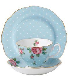 Blue Polka Vintage 3 Piece Set, Royal Albert