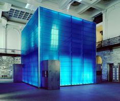 Ocean Explorium Blue Cube using EXTECH 40mm translucent polycarbonate panels. Architect: Cosestudi. #daylighting #translucent #polycarbonate #architecture #design