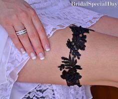 Black Bridal Accessories Lace Garter Set By BridalSpecialDay