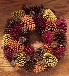 like the painted pine cone idea for a wreath, not big on wreaths maybe in a bowl?