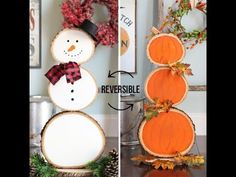 Turn wood slices into a reversible pumpkin and snowman decoration you can use from fall through winter. So cute for the front porch or entryway! Click through for the detailed tutorial so you can make your own. Snowman Decorations, Snowman Crafts, Fall Crafts, Holiday Crafts, Halloween Decorations, Christmas Decorations, Holiday Decor, Party Crafts, Halloween Costumes