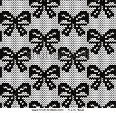 Knitted seamless pattern bows