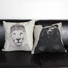 Free shipping high quality linen invisible zipper vintage cushion cover/pillow cover