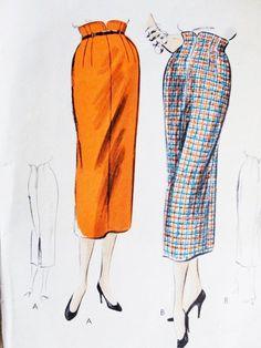 50s Pencil slim Skirt Pattern Vogue 8073 Unique Shaped Built Up Waistline Classy Design Waist 24 Vintage Sewing Pattern di SoVintageOnEtsy su Etsy https://www.etsy.com/it/listing/217389570/50s-pencil-slim-skirt-pattern-vogue-8073