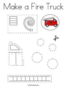 Make a Fire Truck Coloring Page - Twisty Noodle Cutting Practice, Truck Coloring Pages, How To Make Fire, Rescue Vehicles, Kids Prints, Fire Trucks, Noodle, Diy For Kids, Worksheets