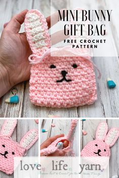 Easter is coming up and this is the perfect thing to get started on! So cute and so easy! Crochet Fox Pattern Free, Easter Crochet Patterns, Bag Pattern Free, Crochet Bunny, Cute Crochet, Crochet Yarn, Easy Crochet, Holiday Crochet, Crochet Gifts