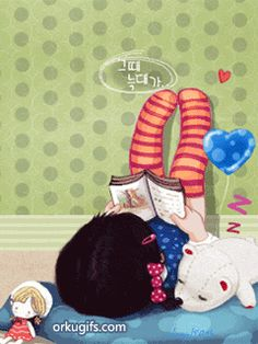 animated girl reading book gif