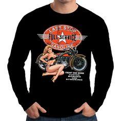 Velocitee Mens Long Sleeve T-Shirt Last Stop Classic Biker Harley Pin Up W12721 #VelociteeSpeedShop