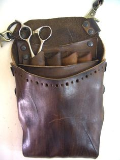 OFF SALE - Scissors Case/Handmade Leather Helmet Style Shear Holster for Professional Hairdresser Leather Pouch, Leather Tooling, Leather Craft, Handmade Leather, Crea Cuir, Steampunk, Cheap Gifts, Leather Projects, Leather Accessories