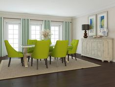 Fake Wood Flooring Types For Warm Dining Room Decor With Elegant Curtains And Green Sofa Chairs Contemporary Dining Room Furniture, Dining Room Furniture Sets, Dining Room Wall Decor, Dining Room Design, Dining Room Chairs, Room Decor, Furniture Design, European Furniture, Arm Chairs