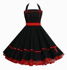 Pýchavka - spodničky šaty 50s ROCKABILLY DRESS BLACK RED - návrhář kus-Charlott atelieru na DaWanda