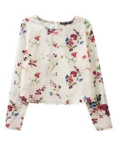 Long-sleeve Floral Printed Cropped Blouse
