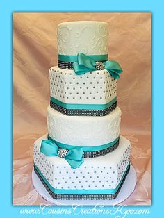 Tiffany Blue and Diamonds  Wedding Cakes - Cousin's Creations