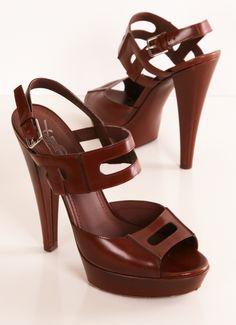 Yves Saint Laurent brown platform heels