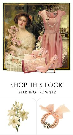 """""""The blushing English rose"""" by satinee ❤ liked on Polyvore featuring Alberto Guardiani, Christian Dior, coral, dress, dior necklacel, emile vernon, pumps, vintage, alberto guardiani and pink"""