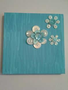 Turquoise Floral Button Art by JasminesTreasuresLLC on Etsy