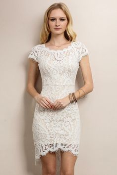Sporting this white sheath dress is your first big score of the night, and each compliment directed at its lace overlay will bring you closer to a complete fashion win! Alluringly featuring an open ba