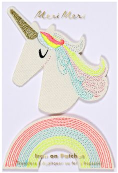 Add a sprinkle of magic to your outfit, denim or tote bag! These cute iron-on patches come in unicorn and a rainbow shapes with beautiful embroidered details. Pack contains 2 iron-on patches Pack size: 3 x 5 inches Designed in England by Meri Meri Paper Embroidery, Learn Embroidery, Meri Meri Unicorn, Sweet Party, Fabric Letters, Cat Patch, Beautiful Unicorn, Little Unicorn, Patches