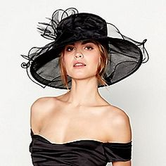 Your perfect statement accessory, this black sheer organza and mesh hat from Hat Box features an oversized organza bow to the crown with soft feather detailing and a gorgeous curled brim. Black Curls, Occasion Hats, Hat Boxes, Debenhams, Hair Pieces, Fascinator, Women Wear, Wonder Woman, Fashion Outfits