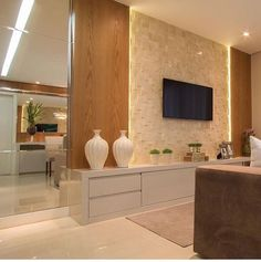 Sala clean - Daily Home Decorations Living Room Tv, Home And Living, Tv Wall Decor, Tv Unit Design, Stone Cladding, Interior Decorating, Interior Design, Living Room Designs, New Homes
