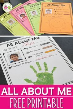 A perfect activity for your All About Me preschool theme. Use this free one page printable to help kids share a few things about themselves. When complete you can add to a portfolio, give as a parent keepsake, or bind in a class book. The page is filled with images to help emergent readers understand the text. Plus, it is easily differentiated. Perfect for beginning of the year and all about me theme literacy center in preschool, pre-k, or ki