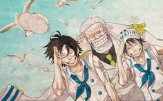 Ace Luffy Garp Marine One Piece Wallpaper 1440×900