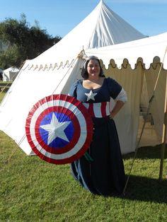 """Captain America Cotehardie by Baroness Sylvie la chardonniere.  """"Super Secret Projects for Cynaguan Coronet"""""""