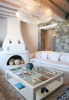 Fireplace and light fixture