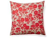 Floral 20x20 Cotton Pillow, Red on OneKingsLane.com