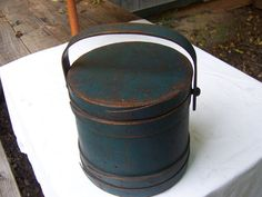 AAFA 19th C Firkin Fabulous Original Blue Paint | eBay