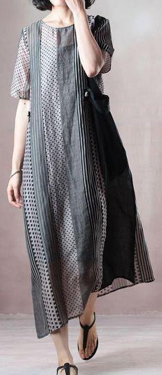 6bfb3768a3 top quality natural silk linen dress stylish Loose Silky Linen Short Sleeve  Dot Summer Long Casual Dress