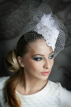 Little white lace hat with a veil | Wedding Hats by Anna Mikhaylova, via Behance