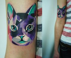 waaww..... i usually love black thin line illustration tattoo... but these tattoos by Sasha Unisex had wonderful color and graphic, so vibrant and electric, love them too!!!
