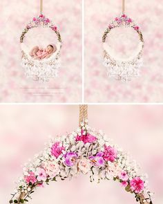Newborn hanging circle design with flower and feather 2 - Digital photography backdrop /props for newborn photography - psd with layers Newborn Photography Props, Digital Photography, Digital Backgrounds, Digital Backdrops, Baby Art, Circle Design, Cute Photos, Baby Swings, Photoshoot Ideas