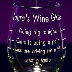 Engraved Measured Stemless Wine Gl