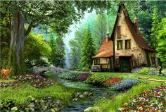 Summer Cottage - trees, garden, flowers, painting, house, artwork